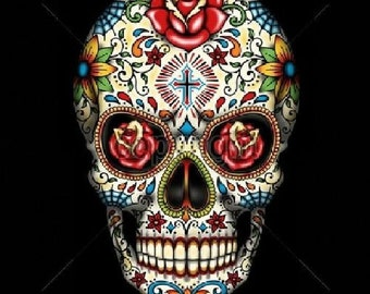 Sugar Skull With Red Roses IN Eyes Day of the Dead  WOMENS Short Sleeve T Shirt 16553