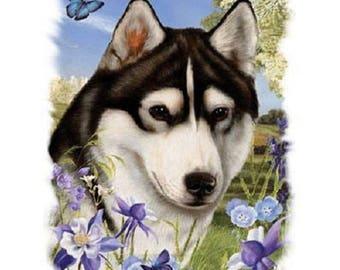 Siberian Husky Flower Dog Womens Short Sleeve T Shirt 16588HL4