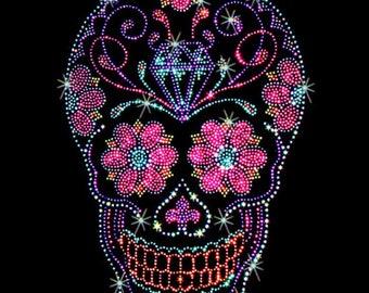 Diamonds and Flowers Rhinestone Studs Sugar Skull Day of the Dead WOMENS Short Sleeve T Shirt 15467