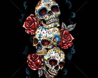 Three Sugar Skull With Roses Day of the Dead Womens LONG SLEEVE Black T Shirt 17033