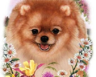 Pomeranian Flower Dog Womens Short Sleeve T Shirt 15018HL4