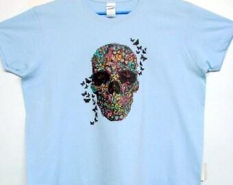 Flower Skull With Butterflies Day of  the Dead Sugar Skull  Womens Short Sleeve T Shirt 18378