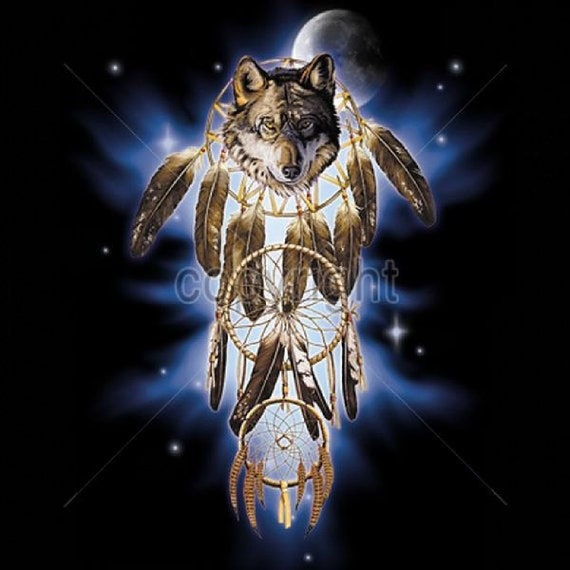 8706e3a347c0b Native American Indian Wolf Dream Catcher in Space Adult   Etsy