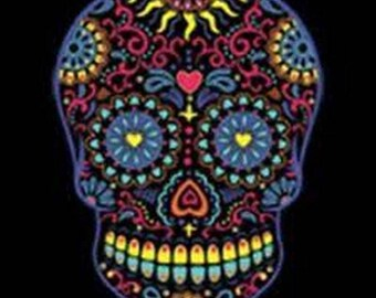 Neon Sugar Skull Day of the Dead Womens LONG SLEEVE T Black Shirt  17459