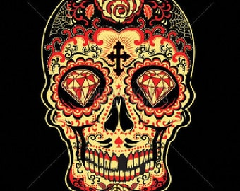 Red Sugar Skull Day of the Dead Womens LONG SLEEVE Black T Shirt 17343