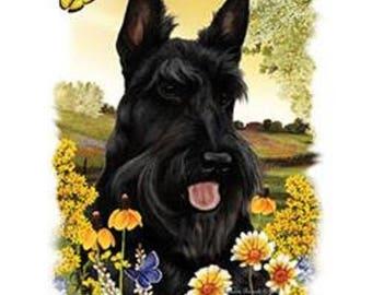 Scottie Flower Dog Womens Short Sleeve T Shirt 16604HL4