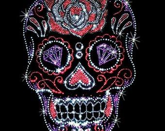 Rhinestone Studs Sugar Skull Rose Forehead and Diamonds Day of the Dead WOMENS Short Sleeve T Shirt 15465