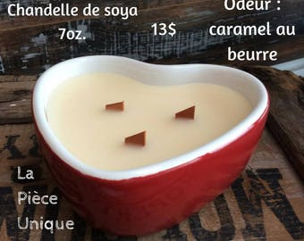 Soy Wax candle in recycled container/scented candle/butterscotch candle/Upcycled candle/eco friendly candle/crackling wick candle/soy wax