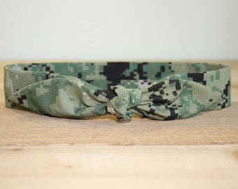 Adult Headband with Tie Hairbow Military Green Digital Camo