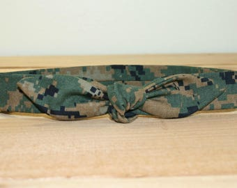 Woodland MARPAT USMC Child Headband with Tie Hairbow Military Camo