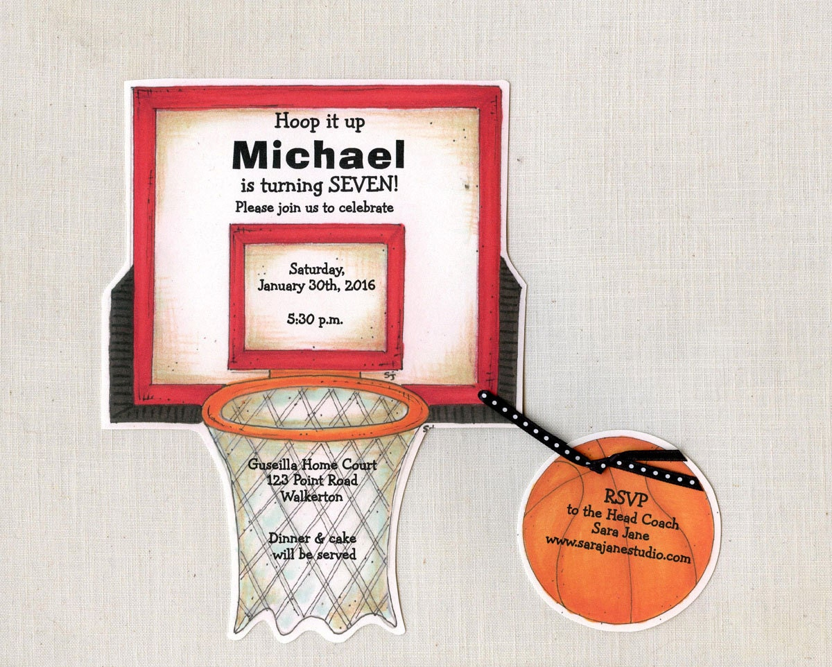 Personalized - Basketball - Birthday - Party - Invitation - Hoop ...