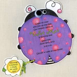 Handcut /& Personalized 40 Lady Bug Birthday Party Invitations