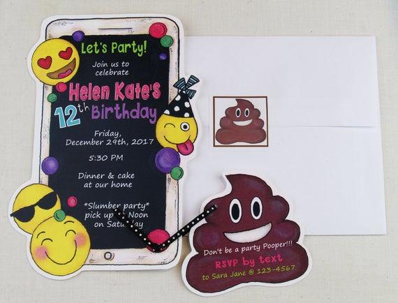 30 Emoji Birthday Party Invitations Mobile Phone