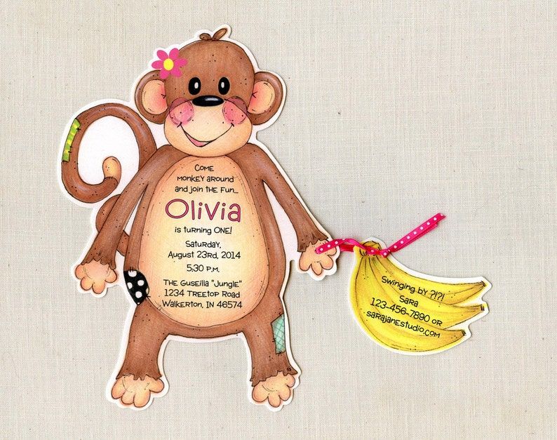 Girl Birthday Party Invitations Personalized and Handcut Invitations Monkey Birthday Party Invitations Set of 30 plus 5x7 Print