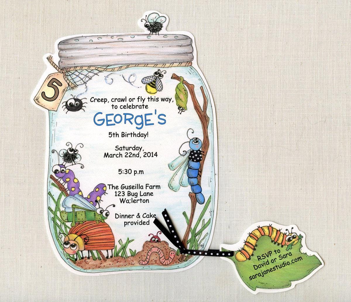 35 bug jar birthday party invitations summer birthday invite etsy zoom filmwisefo
