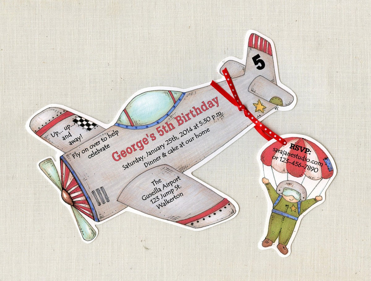 20 Airplane Happy Birthday Party Invitations - Pilot - Fighter Jet ...
