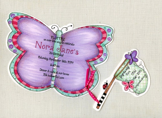 15 Purple Butterfly Happy Birthday Invitations Spring Girl