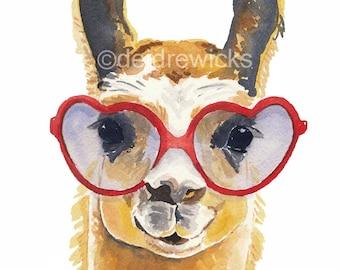 Llama Watercolour Painting - Fine Art Print, Heart Shaped Glasses, Llama Illustration, Funny Llama