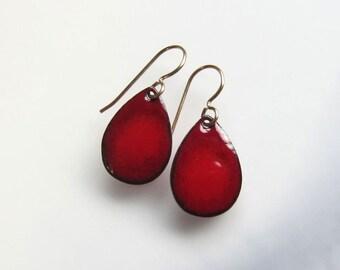 Itty bitty red teardrop earrings Dainty enamel drops Tiny silver, niobium or gold wire dangles Enameled jewelry