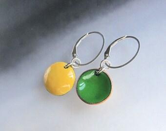 Reversible yellow enamel earrings Spring green enameled disc dangles Interchangeable jewelry Sterling silver lever-back wire drops