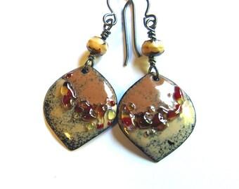 Brown earthy rustic earrings Natural color niobium dangles Unique glass enamel artisan jewelry Bohemian earrings Choose wires