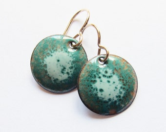 Tiny turquoise green and aqua enamel earrings Small handmade teal discs Enameled copper jewelry Petite gold wire drops