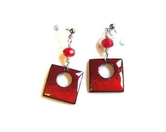 Dainty red enamel clip on earrings Invisible clip on dangle earrings Non pierced square drops Enameled jewelry
