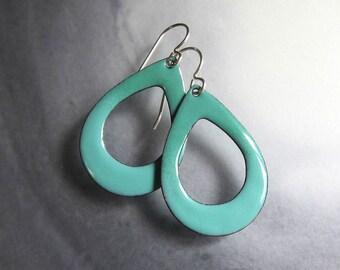 Aqua green enamel hoop earrings Lightweight seafoam mint green teardrop dangles Enameled jewelry