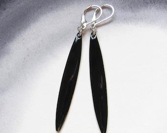 Black enamel bar earrings Leverback dangles Long everyday stick earrings Minimalist jewelry