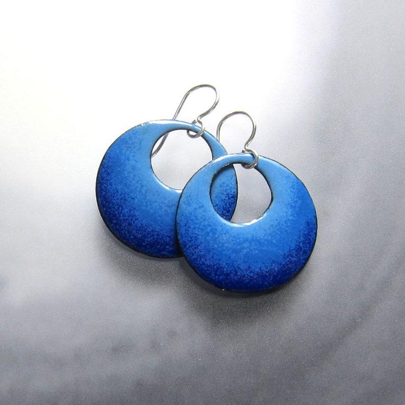 50eaeff6e Blue enamel hoop dangles Open circle blue ombre drops Sterling | Etsy