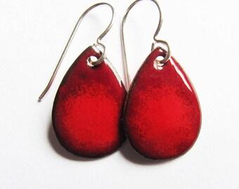 Itty bitty red teardrop earrings Tiny red enamel drops Dainty silver, niobium or gold wire dangles Enameled jewelry