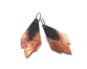 Tribal geometric copper earrings Earthy hammered patina copper dangles Niobium earrings Metalsmith artisan jewelry
