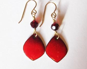 Petite red enamel petal earrings Gold wire dangles Small wine burgundy drops Crystal earrings Enameled copper artisan jewelry