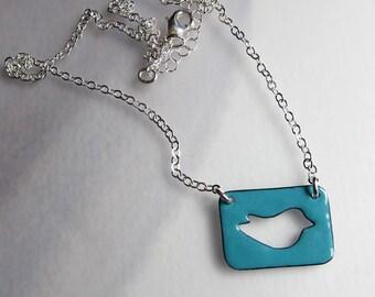 Blue enamel bird necklace Enamel nature jewelry Bluebird pendant Gift for bird lover Sterling silver
