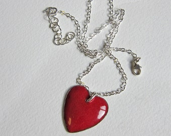 Valentines red enamel puffy heart necklace Big dark red enameled sweetheart pendant Romantic gift for her