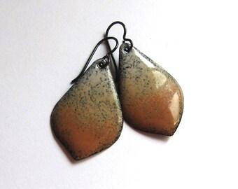 Tan enamel leaf earrings Handmade camel caramel brown petal dangles Artisan jewelry Silver, niobium or gold wire drop earrings