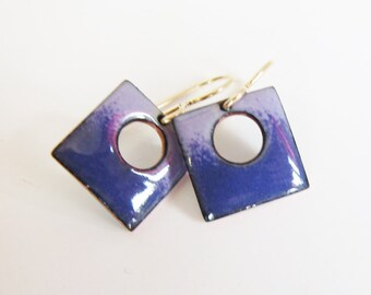 Tiny purple enamel earrings Colorful enameled jewelry Petite square drops Surgical steel, gold, niobium or silver wires