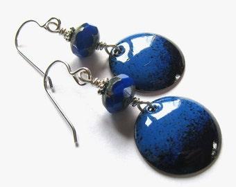 Blue vintage style enamel disc earrings Black and blue sterling silver wire wrapped earrings Cobalt enameled dangles