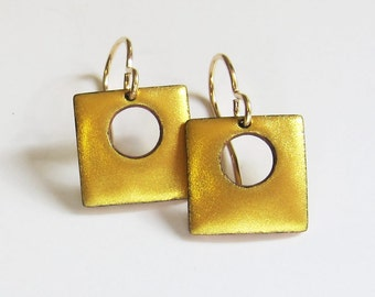 Small gold enamel drop earrings Petite metallic gold square dangles Minimalist jewelry gift for her Gold wires