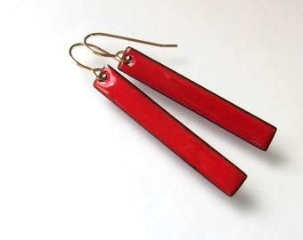 Red bar enamel earrings Simple stick dangles Minimalist enameled jewelry Silver niobium or gold wire earrings