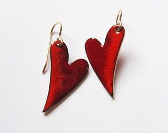 Red enamel heart earrings Small red drops Sweetheart gold wire earrings Romantic jewelry Niobium dangles Gift for her