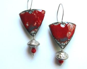 Big handmade enamel earrings Red mixed media shield earrings Boho jewelry Triangle earrings