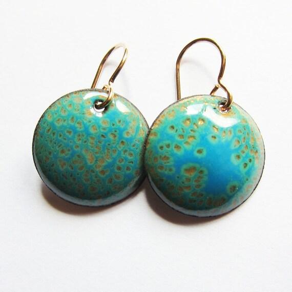 Green and blue enamel drop earrings Aqua disc dangles Colorful   Etsy