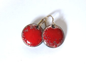 Red enamel earrings Small disc gold wire dangles Holiday red drops Unique enameled copper jewelry Christmas gift for her