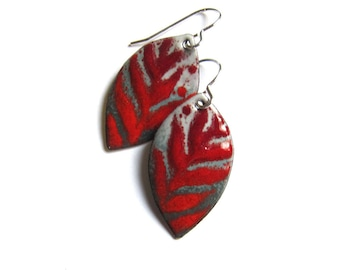 Red and gray enamel leaf earrings Nature inspired jewelry Gift for Mom Wife Girlfriend Sterling silver or niobium