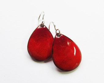 Red enamel teardrop earrings Colorful enamel drops Small silver, niobium or gold wire dangles Handmade gift for her