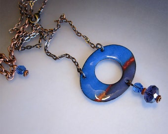 Blue and purple enamel necklace Modern enameled copper artisan jewelry Colorful oval pendant