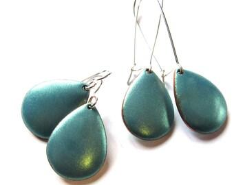 Turquoise enamel drop earrings Elegant aqua mint green enameled teardrop dangles Minimalist Sterling silver kidney or french wires