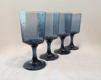 87979b5586a 4 Octagonal Libbey Facets Cobalt Blue Water Goblets