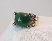 Faux Jade Sterling Silver with Gold Vermeil Ring SZ 7